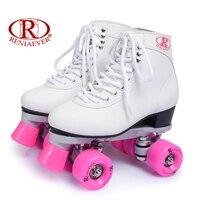 البكرات مزدوجة الأسطوانة التزلج 4 عجلات عجلات البولي الوردي أحذية بيضاء الأحذية النسائية الشحن مجانا