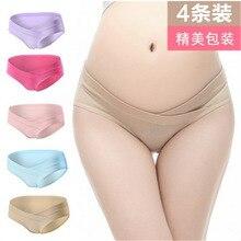 4Pcs / Lot Bomull V-Shaped Låg Talje Maternity Undertøy Gravide Kvinner Undertøy Maternity Panties Graviditet Briefs Kvinner Klær