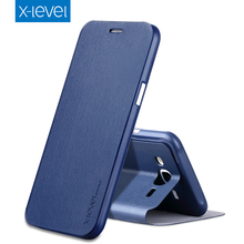 X-Level Luxury Business PU Leather Case for Samsung Galaxy J5 Flip Cover for Samsung J5 2015 J500FN J500F J500M Stand Case Cover