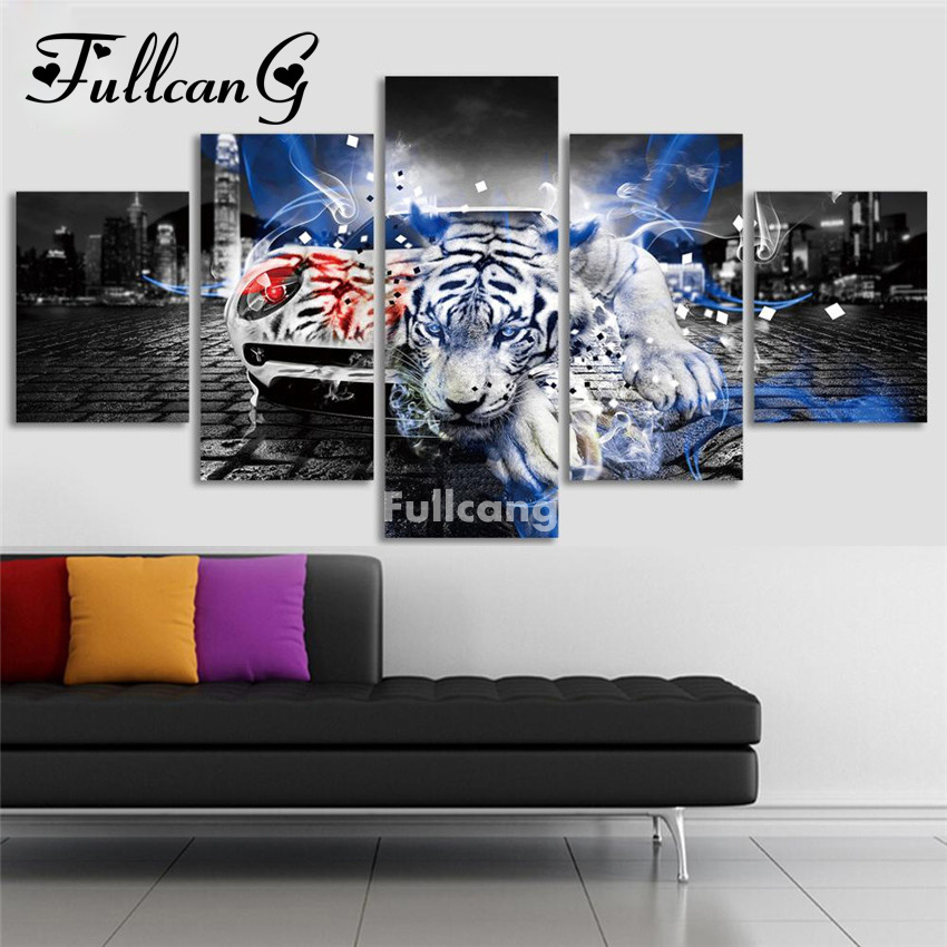 FULLCANG DIY Diamond Painting Cross Stitch Tiger Full Embroidery Animals 5D Mosaic Needlework F210
