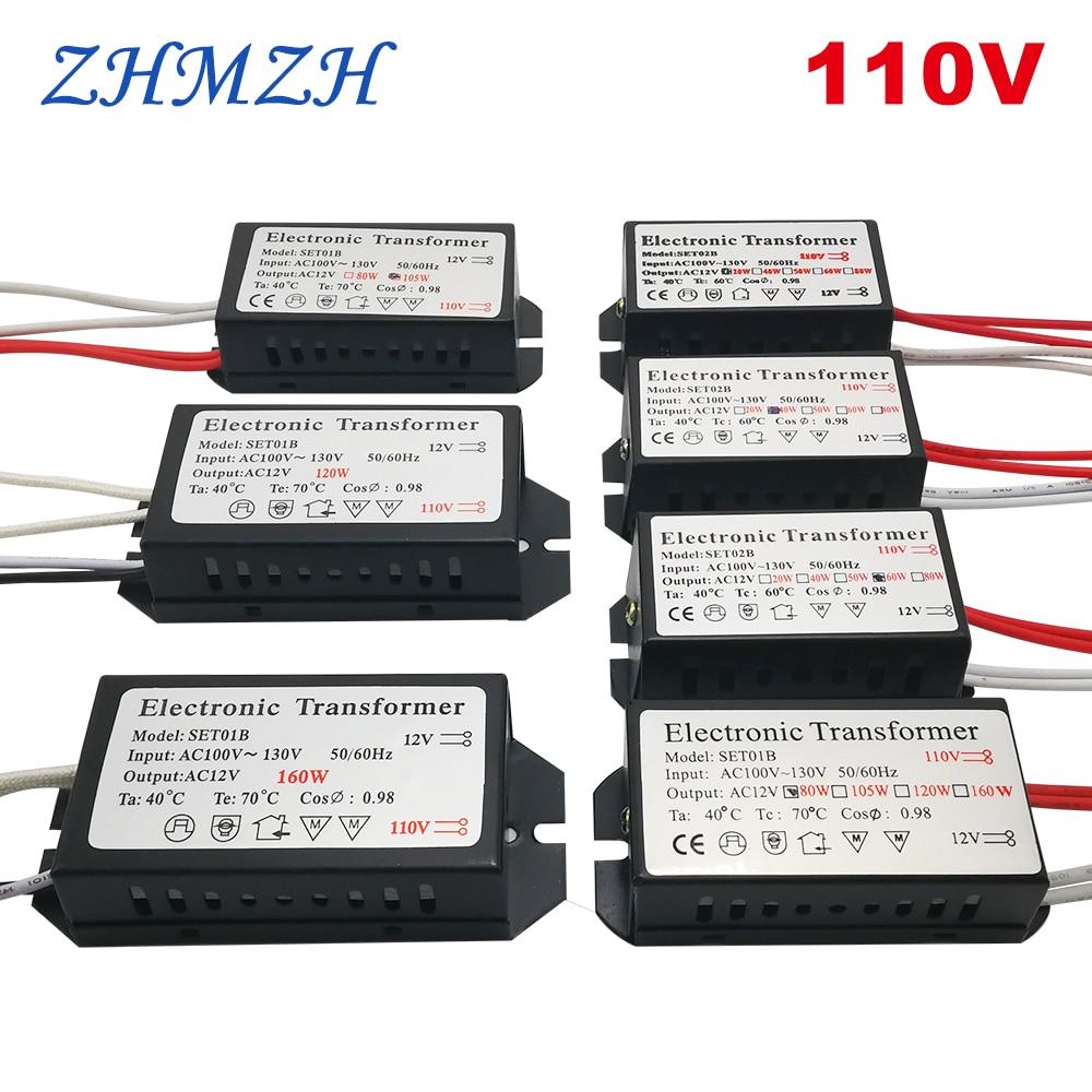 110 ولت ترانسفورماتور الکترونیکی 60W 120w 160W AC110V-130V به منبع تغذیه AC 12V برای لامپ های کریستال هالوژن G4 هالوژن لوستر کوارتز