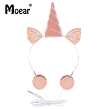 hot deal buy girls lovely sparky unicorn headphones wired 3.5mm earphones for mp3 players pc pink