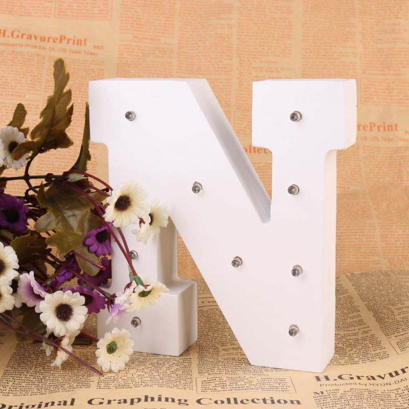1pcs Letter N White Wooden Letter LED Marquee Sign Alphabet LIGHT UP night light Indoor WALL Decor Wedding Party Birthday Party