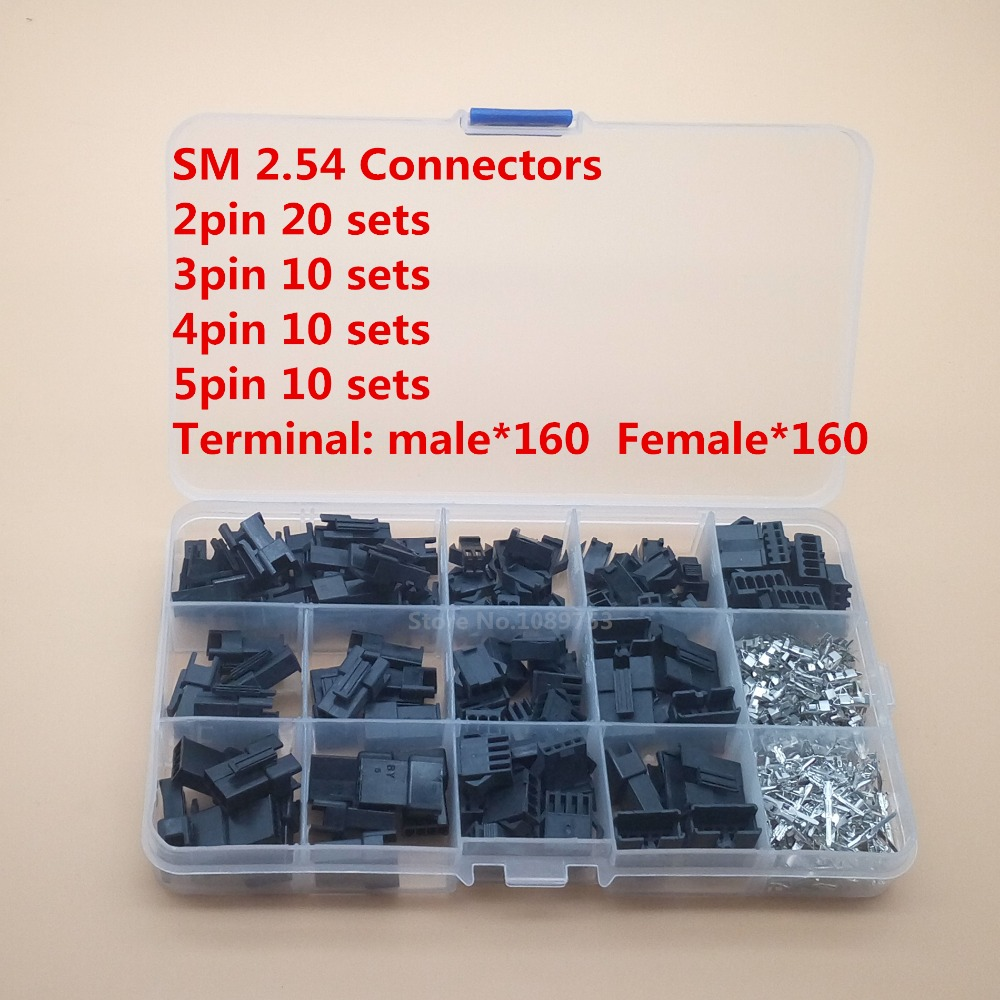 50sets sm connector 2.54mm 2p 3p 4pin 5 pin connector with housing pin header male female terminal wire connector 100pcs lot 4 8 male and female insulated terminal insert the plug sheathed wire terminal connector 0 2 1mm2