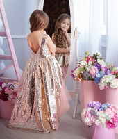 sequin gold dress tutu pink and gold girls dresses for wedding girls birthday dress pageant party gown custom made