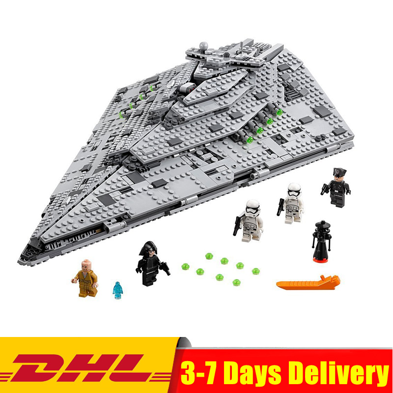 цена на In Stock DHL Lepin 05131 1585Pcs Star Series Wars The First Order Star Model Destroyer Set 75190 Building Blocks Brick Toy