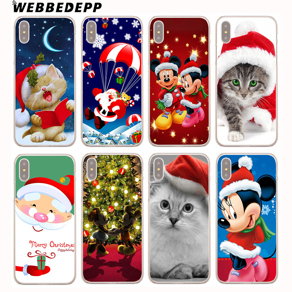 WEBBEDEPP Cartoon characters Christmas Hard Cover Case for iPhone 8 7 6S Plus X/10 5 5S SE 5C 4 4S