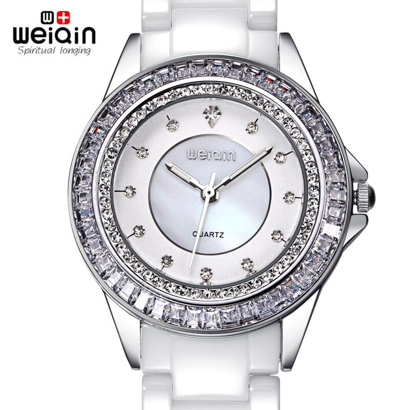 WEIQIN Brand Luxury Diamond Womens Watch White Silver Ceramic Band Quratz Watch Ladies Fashion Dress Watch