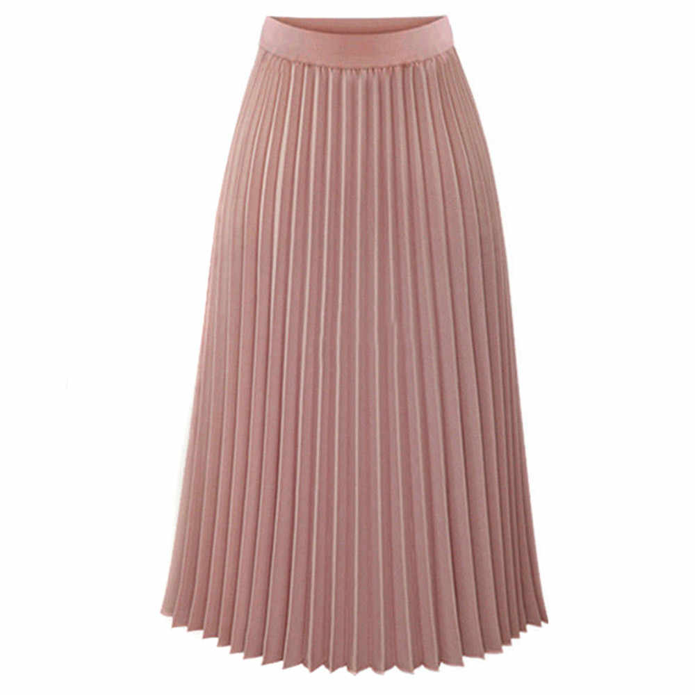 Long Skirt For Women Ladies pleated skirt Womens harajuku Pleated Elegant Midi Elastic Waist Maxi Skirts summer skirts 8.8L3
