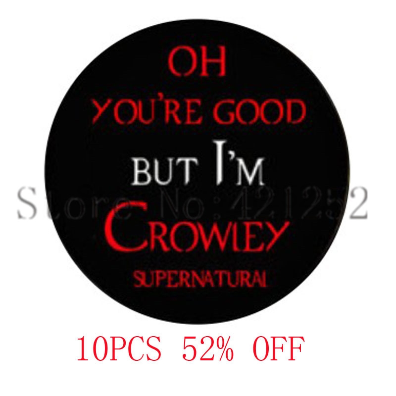 Crowley Quote supernatural I'm Crowley anti possession Glass Photo Cabochon Necklace keyring bookmark cufflink earring image