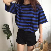 Women Shirts O Neck Striped Short Sleeve Ghost Horse Less Pure Cotton 2 And Color Blouse