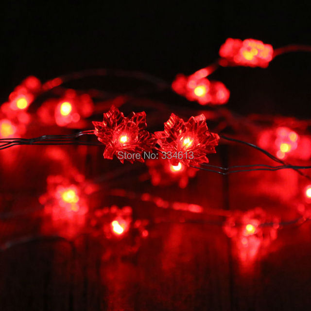 3M 40LED Battery Operated Red Maple Leaf Shaped String Lights ...