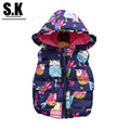 Brand SK Autumn Unisex Children Clothing Outerwear&Coats Animal Graffiti Cute Baby Boys Girls Vest Hooded Jackets Coat for Boys