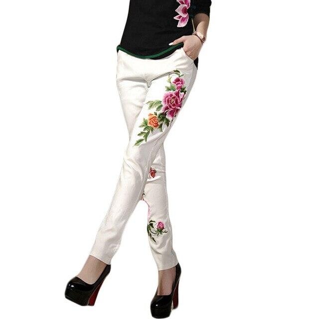 Цветочный Принт Леггинсы Этническом Стиле Цветы Вышитые Леггинсы Мода Тонкий Тонкий Карандаш Брюки pantalones mujer 2015 BG147