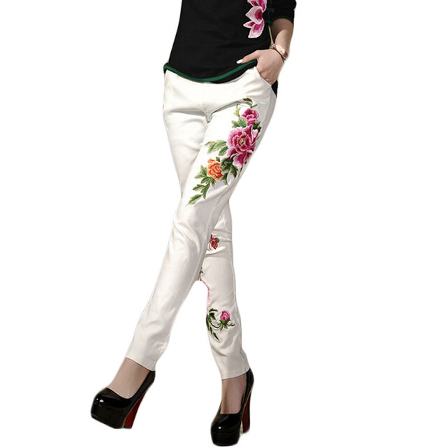 Floral Print Leggings Ethnic Style Flowers Embroidered Leggings Fashion Slim Thin Pencil Pants pantalones mujer 2015   BG147