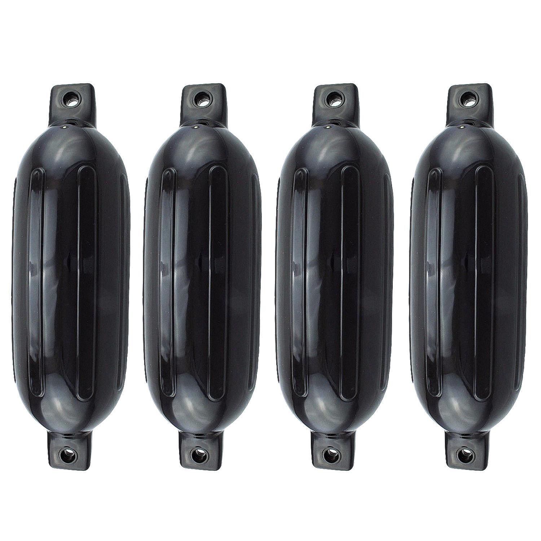 4PCS Ribbed Boat Fender 8 5 X 27 Black Vinyl Marine Bumper Inflatable Dock Shield