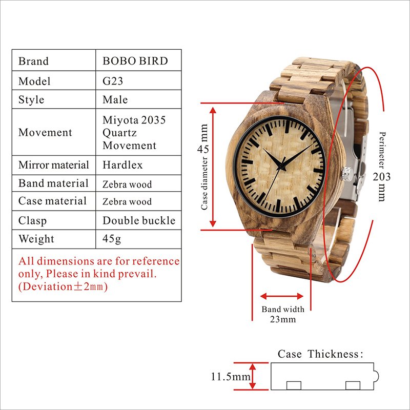Topdudes.com - Handmade Full Natural Wooden Band Quartz Wristwatches with Wood Box
