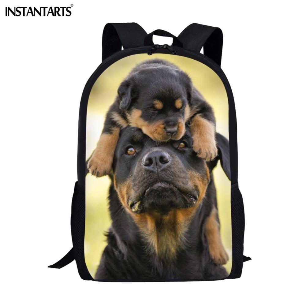 INSTANTART Lovely 3D Animals Rottweiler Dog Printing Kid Book Backpacks School Students Teenager Brand Design Canvas Rucksacks