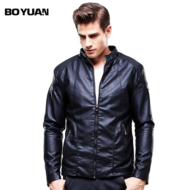 BOYUAN Leather Jacket Men Chaquetas De Cuero Moto Para Hombre Jaqueta De Couro PU Leather Jacket Men Solid Stand Collar BY8601