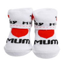 Baby Socks Rubber Slip-resistant Floor Socks Love Dad Love Mum Cartoon Kids Socks For Girls Boys(China)