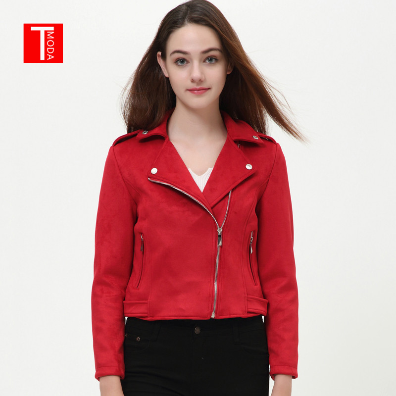 2018 Women Autumn Winter   Suede   Faux   Leather   Jackets Lady Fashion Matte Motorcycle Coat Biker Red Black Green Zipper Outerwear