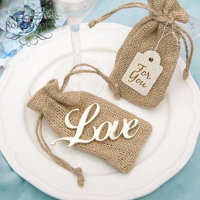20pcs Love Bottle Opener With Burlap Bag Bridal Shower Wedding