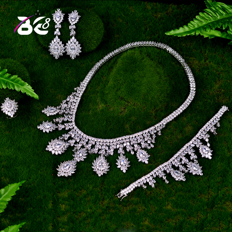 Be 8 Luxury Women Jewels Elegant Shape Bridal CZ necklace earrings bracelet ring 4pcs Big Wedding Jewelry Sets For Bride S040 a suit of elegant rhinestone leaf necklace ring bracelet and earrings for women