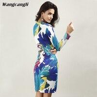 Wangcangli Hot Sale Europe And America Fashion New Style Print V Neck Pencil Slim Fit Dress
