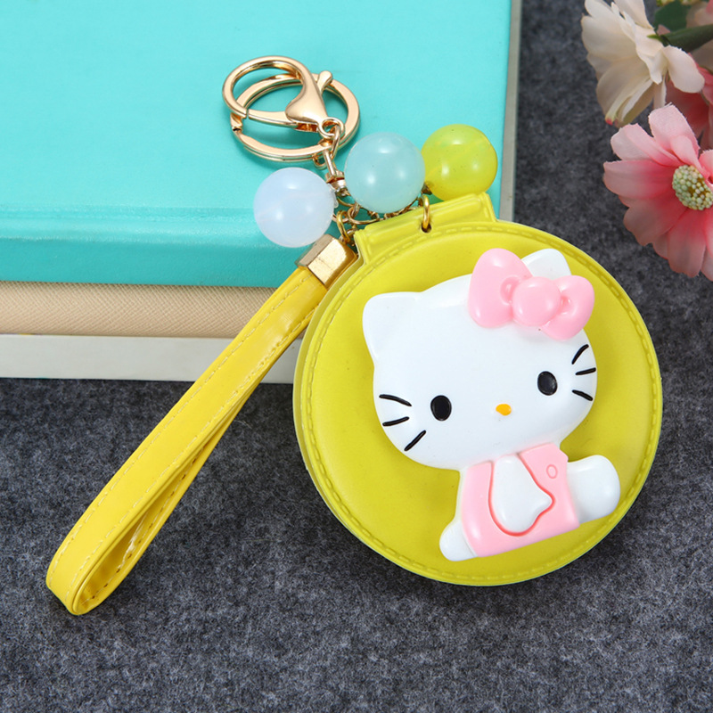 4ff9e670b Cartoon Hello Kitty Cosmetic Mirror Keychain Fruit Color KT Cat Key Holder  Women Car Purse Charm Pendant Key Chain Porte Clef