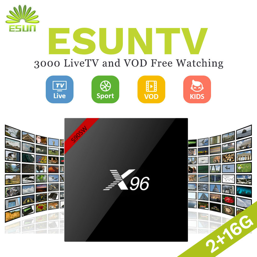 ESUNTV X96W 1G8G 2G16G Android TV BOX Con 1 Anno Europa IPTV Spagna Portogallo tv In America IPTV Smart TV Box s905w Set top boxESUNTV X96W 1G8G 2G16G Android TV BOX Con 1 Anno Europa IPTV Spagna Portogallo tv In America IPTV Smart TV Box s905w Set top box