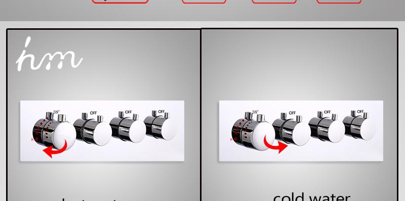 hm Faucets Accessories Contemporary Brass Chrome Thermostatic Shower Valve 3 Way Bathtub faucet Diverter Thermostat Mixer (21)