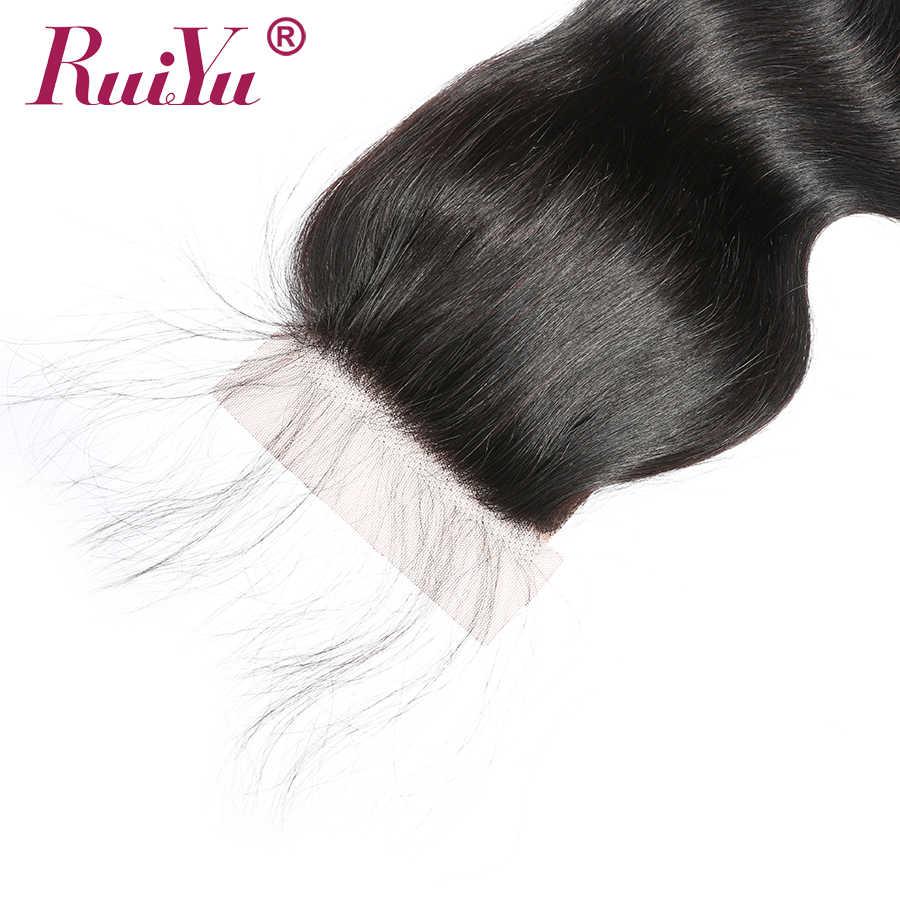 5x5 Cierre de encaje onda del cuerpo pelo brasileño pieza de cierre de cabello humano nudos blanqueados cierre con pelo de bebé gratis parte RUIYU Remy