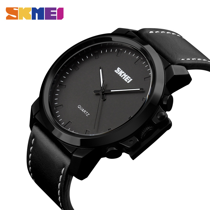<font><b>SKMEI</b></font> Quartz Watches Men IP Black Plating Large Dial 30M Waterproof Fashion Casual Gentleman Wristwatches Relogio Masculino <font><b>1208</b></font> image