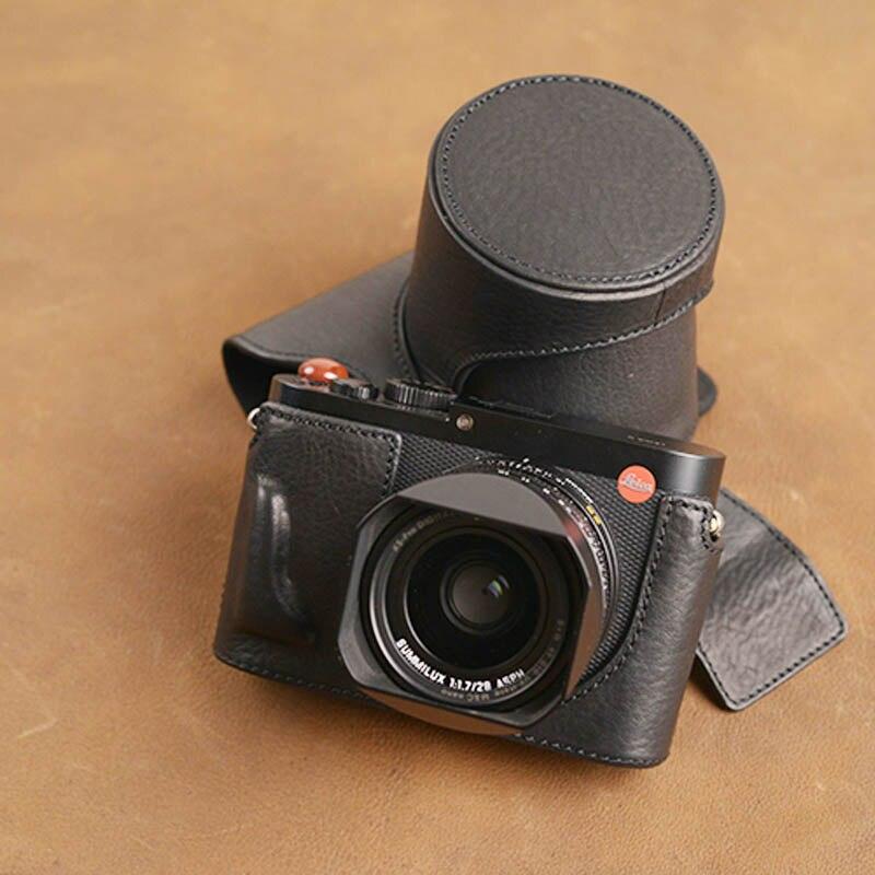 AYdgcam marque fait à la main en cuir véritable étui pour appareil photo peau pour Leica Q typ 116 conception de batterie ouverte-in Sacs pour appareil photo from Electronique    1