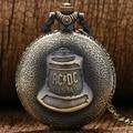 Antique Steampunk ACDC Infiernos Campana Cuarzo Reloj de Bolsillo Colgante Collar Retro Hombres Mujeres Regalo de Navidad