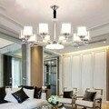 Moderne Chrome Metall Led Kronleuchter Beleuchtung Wohnzimmer Glas Led Anhänger Kronleuchter Lichter Hängen Lampe Leuchten Für Schlafzimmer-in Pendelleuchten aus Licht & Beleuchtung bei