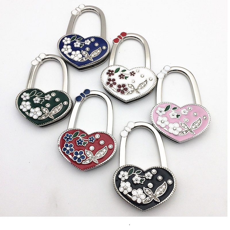 Diy Love Shape Bag Handbag Purse Table Hook Hanger Holder Gift Blue Flower Hand 30pcs Lot Via Dhl Ems In Parts Accessories From