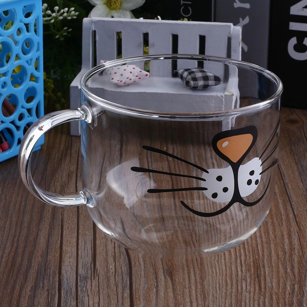 Cat Kitty 550ML Transparent Water Cup Borosilicate Juice Coffee Milk Tea Cup Table Decor Funny Drinking Decorating Tools Кубок