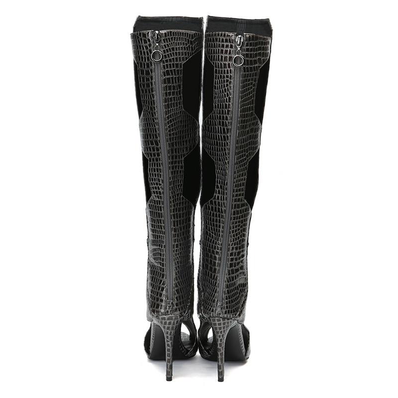 Mujer Botas La Altas Las Toe Negro Recortes Más Mujeres Peep Zapatos Kcenid Alto Rodilla Sexy Larga Tacón De Moda Hasta 2019 Pu Serpiente Primavera CxwqWRA60