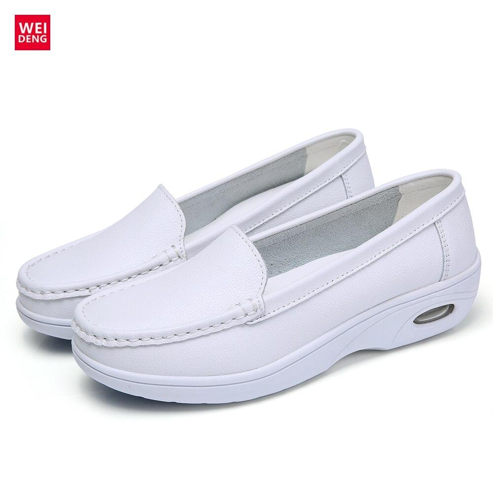 WeiDeng 2017 Antideslizante Zapatos Enfermera Plana Antideslizante de Cuero Genu