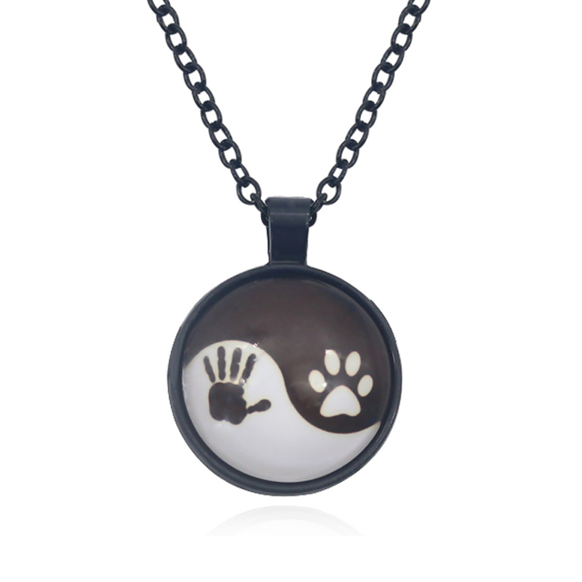 Dog paw footprint handprint pendant necklace women yin yang tai chi dog paw footprint handprint pendant necklace women yin yang tai chi time stone glass necklace bff aloadofball Gallery