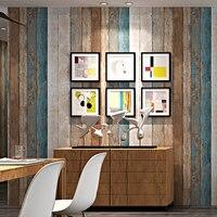Nordic Retro Nostalgic Wood Board Wood Grain Wallpaper PVC Waterproof Wall Covering 3D Living Room Restaurant