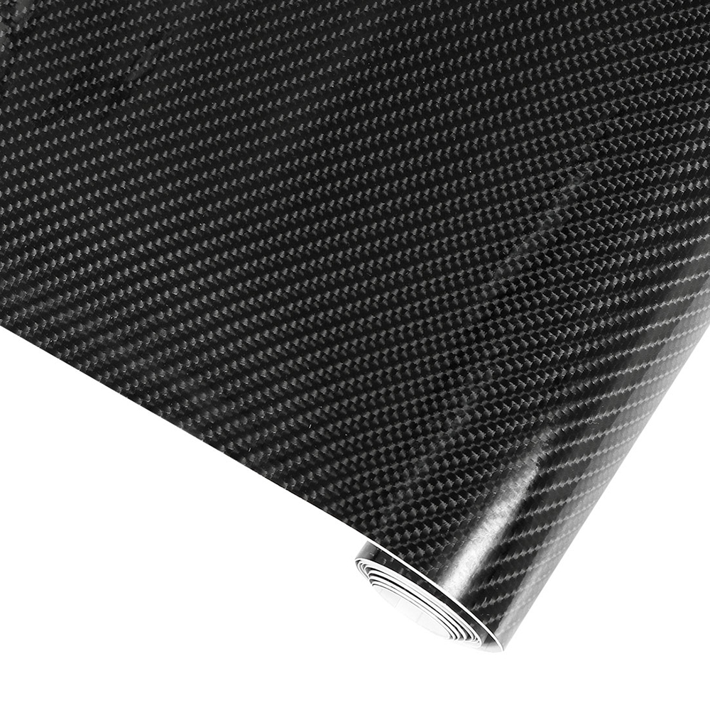 5D HIGH GLOSS Carbon Fiber Vinyl Wrap Adhesive Decal Bubble Free Release Black