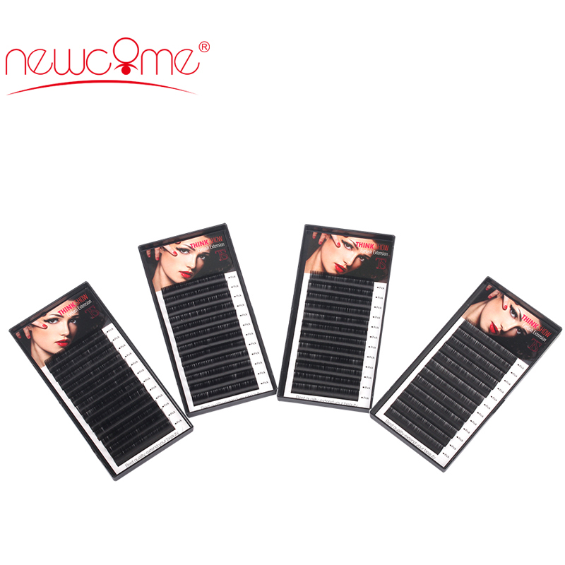 THINKSHOW 4 Trays/lot 3D Korea Eyelash Extension Curl C/D Thick 0.05 to 0.25mm Hand Made False Eyelash Natural Black Eye Lashes
