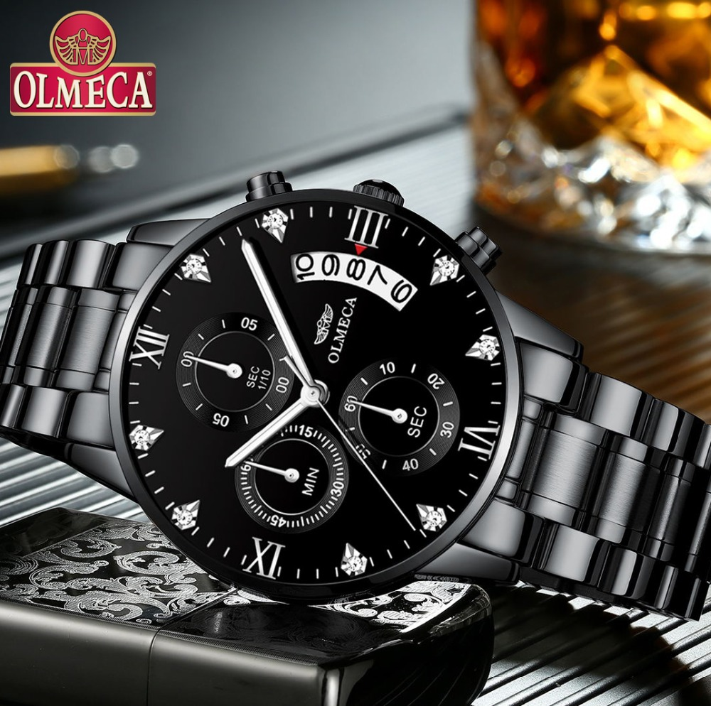 OLMECA Hot-sell Luxury Brand Watches Men 2018 New Fashion Casual Dress Chronograph relogio masculino Waterproof 30m Watches