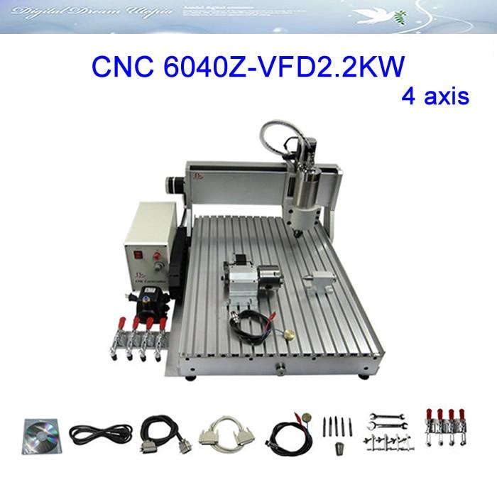 High efficiency 4 axis CNC Router LY 6040Z-VFD2.2KW Engraving machine, cnc cutting Machine 3axis mini cnc router ly cnc3020z vfd1 5kw engraving machine with sink cnc cutting machine