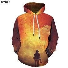 KYKU marca carácter Sudaderas hombres llama con capucha Anime Graffiti  Sudadera con capucha imprimir arte Casual 16101f8bc12