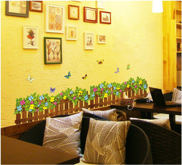 Flower Grass Vine Butterfly Wall Border decal Removable home sticker ...