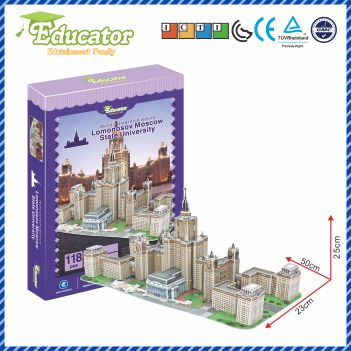 Model baru 3D Pendidik puzzle model Buliding Lomonosov Moscow State University Rusia DIY Game