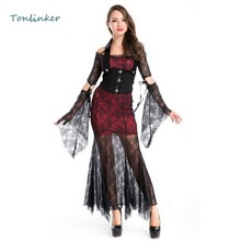 Halloween Gothic Sexy Vampire Queen Costumes Cosplay Women Masquerade Party Lace Dress
